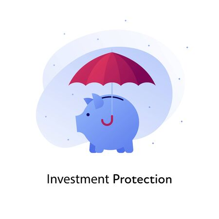Vector flat insurance color illustration. Bank, investment business protection concept. Piggy bank in under umbrella isolated on white background. Design element for banner, poster, web, ui, print