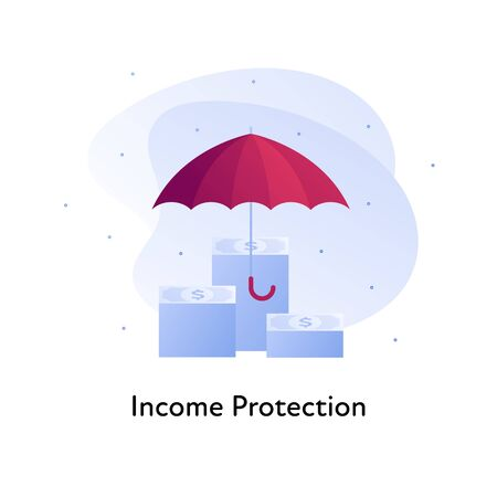 Vector flat insurance color illustration. Bank, income business protection concept. Money stack in under umbrella isolated on white background. Design element for banner, poster, web, ui, print