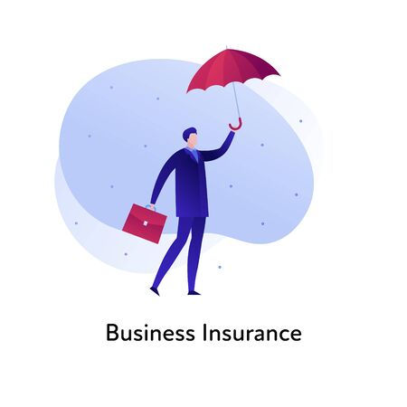 Vector flat insurance business color illustration. Bank, deal protection concept. Businessman, suitcase and umbrella isolated on white background. Design element for banner, poster, web, ui, print Illusztráció