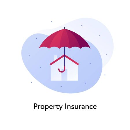 Vector flat insurance business color illustration. House accident protection concept. Home symbol with umbrella sign isolated on white background. Design element for banner, poster, web, ui, print