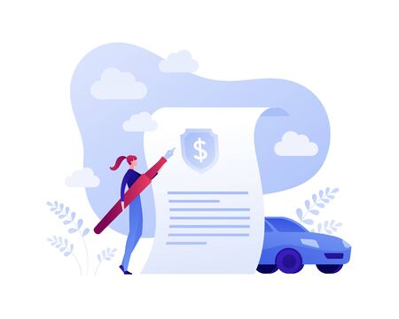 Car, transport and travel policy insurance business concept. Vector flat person illustration. Woman holding pen, document with dollar symbol, vehicle sign. Design element for banner, poster, web.