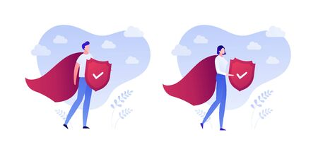 Insurance business. Super protection policy concept. Vector flat person illustration. Male and female superhero in red hero coat with shield on white background. Design element for banner, poster, web