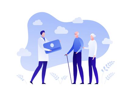 Insurance business for senior people. Health and retirement life policy concept. Vector flat person illustration. Old family and doctor on sky background. Design element for banner, poster, web.