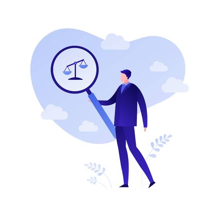 Risk evaluation for business. Concept of audit, financial and law analysis. Vector flat person illustration. Businessman holding magnifying glass over lybra symbol. Design element for banner, poster.