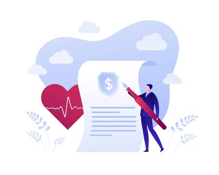 Medical health and life insurance policy business concept. Vector flat person illustration. Businessman holding pen, document, heart with heartbeat sign. Design element for banner, poster, web.