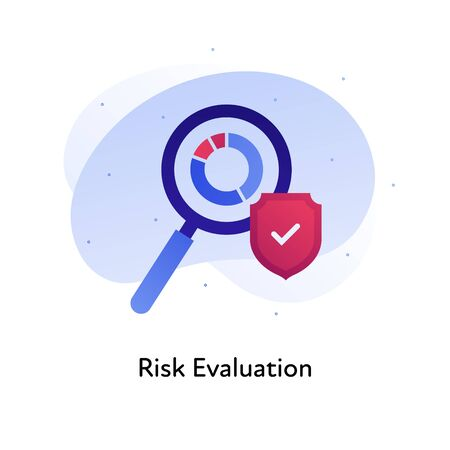Risk evaluation business. Concept of audit, financial analysis. Vector flat color icon illustration. Magnifying glass over chart icon with shield. Design element for banner, poster, web, background. Illusztráció