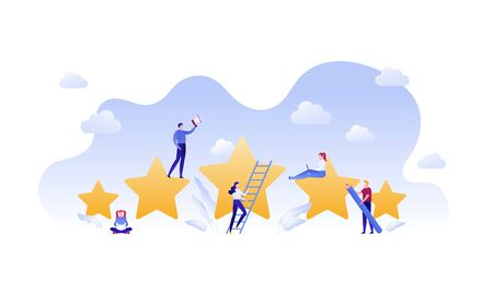 Customer feedback survey flat business vector illustration. Best quality service concept. Team of five people with star, ladder, loudspeaker and laptop sign. Design element for banner, background. Ilustrace