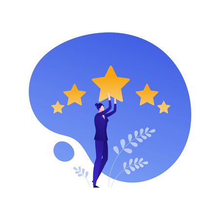 Customer feedback survey flat business vector people illustration. Best quality service review concept. Businesswoman holding star on blue shape. Design element for banner, background, poster, web, ui Illusztráció