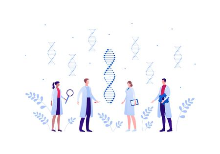 Genetic science and medicine concept. Vector flat medical person illustration. Doctor and scientist people team of man and woman with gene dna helix sign. Design element for scientific banner, poster.