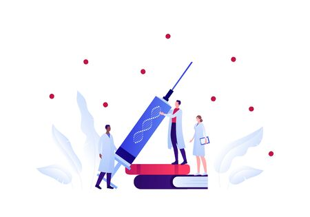 Genetic science and medicine concept. Vector flat medical person illustration. Doctor and scientist team with dna sign syringe standing on book. Design element for scientific banner, poster.