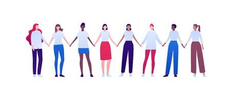 Women empowerment feminist concept. Vector flat person modern illustration. Group of various ethnic woman holding hands isolated on white background. Design element for diversity banner, card, poster.