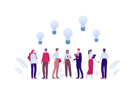 Business teamwork brainstorm concept. Vector flat person illustration. Group of people of different ethnic work togerther with light bulb idea sign. Design element for banner, background, infographic.