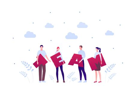 Business teamwork community concept. Vector flat person illustration. Group of male and female worker people holding letters of team text isolated on white. Design element for banner, background.