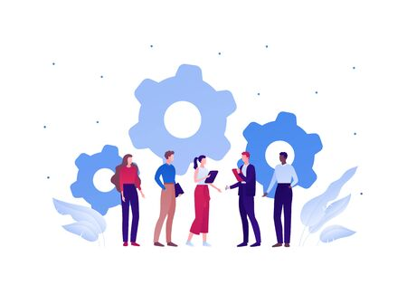 Business teamwork brainstorm concept. Vector flat person illustration. Group of people of different ethnic work togerther with gear wheel cooperation sign. Design element for banner, background. Illusztráció