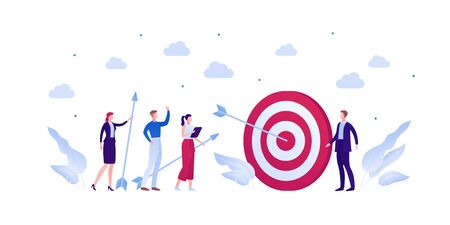 Business teamwork success concept. Vector flat person illustration. Group of businessman and woman in suit hit target with arrow isolated on white. Design element for banner, background, infographic. Illusztráció