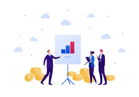 Business finance teamwork concept. Vector flat person illustration. Businessman make presentation to people of different ethnics. Column diagram and money sign. Design element for banner, background.