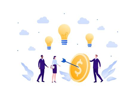 Business teamwork success concept. Vector flat person illustration. Group of businessman and woman in suit hit coin target with arrow and idea light bulb sign. Design element for banner, background. Illusztráció