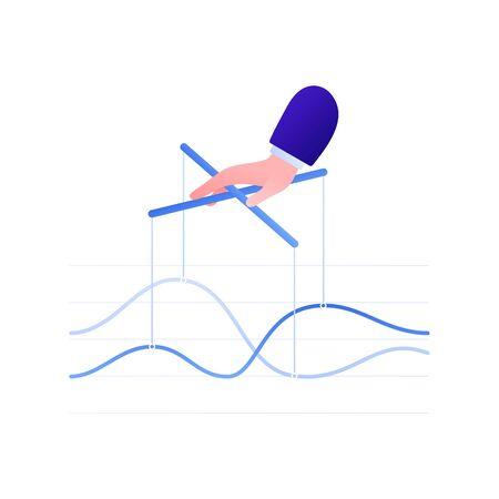Business manipulation concept. Vector flat business illustration. Hand controlling financial graph on strings. Design element for banner, background, infographic. Ilustração
