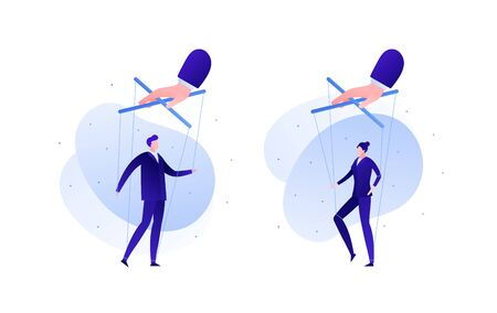 Business manipulation concept. Vector flat business person illustration. Set hand holding male and female people in suit on strings. Design element for banner, background, infographic.