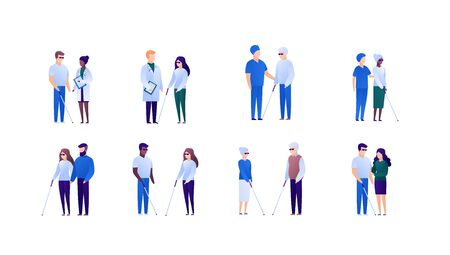 Doctor and patient support for blind people and family concept. Vector flat medical person illustration set. Collection of different nationality and age people.Design element for banner, poster.