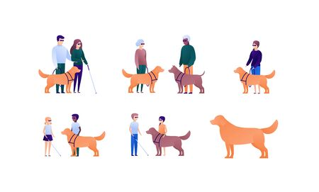 Blind people family with assistance dog concept. Vector flat person illustration set. Collection of people of different nationality and age. Design element for banner, poster. background, infographic.