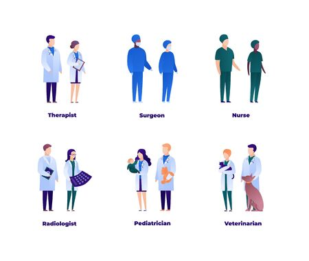 Doctor team concept. Vector flat medical person illustration set. Collection of isolated different medic specialisation people. Medicine profession. Design element for banner, poster, background.