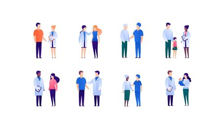 Doctor and patient support concept. Vector flat medical person illustration set. Collection of different young, adult and senior people. Doctor medicine profession. Design element for banner, poster.