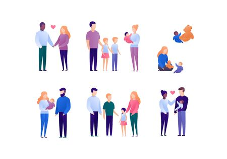 Happy family with child concept. Vector flat person illustration set. Collection of people of different nationality and age. Mother and father with baby. Design element for banner, poster. background.