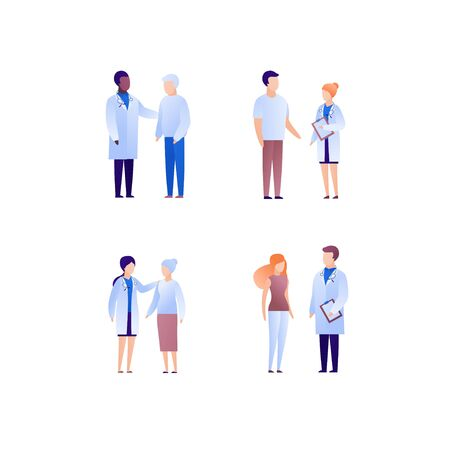 Doctor and patient support concept. Vector flat medical person illustration set. Collection of different nationality and age people. Doctor medicine profession. Design element for banner, poster.