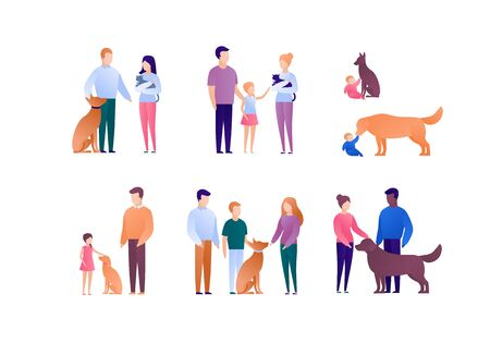 Happy family with child and animal pet concept. Vector flat person illustration set. Collection of people of different nationality and age. Cat and dog. Design element for banner, poster. background. Ilustração