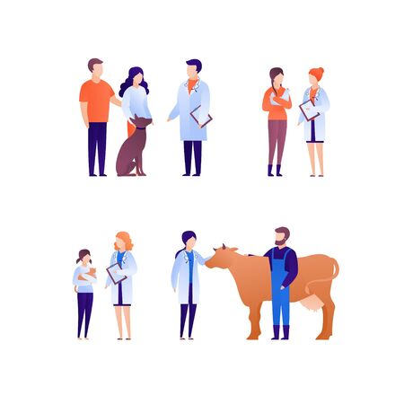 Doctor and patient veterinary concept. Vector flat medical person illustration set. People with animal pet on checkup. Dog, cat and cow. Design element for banner, poster.