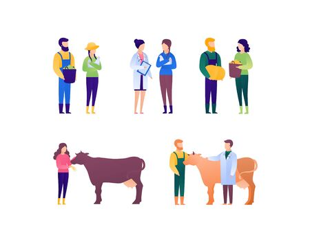 Doctor and patient veterinary for farmer concept. Vector flat medical person illustration set. People with animal pet on checkup. Farm family life. Design element for banner, poster.