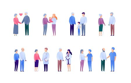 Doctor and patient support for senior people and family concept. Vector flat medical person illustration set. Collection of people character. Grandparents with baby. Design element for banner, poster. Illusztráció