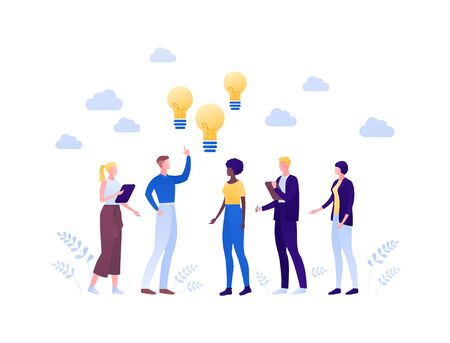 Business cooperation idea brainstorm concept. Vector flat person illustration. People team of man and woman standing with lightbulb sign. Design element for banner, poster, web background, infographic Illusztráció