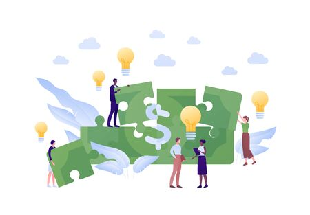 Business cooperation idea brainstorm concept. Vector flat person illustration. People teamwork symbol with lightbulb and money sign. Design element for banner, poster, web background, infographic