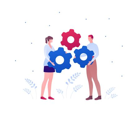Business teamwork concept. Vector flat person illustration. Couple of male and female holding gearwheel success sign isolated on white. Design element for banner, background, infographic.