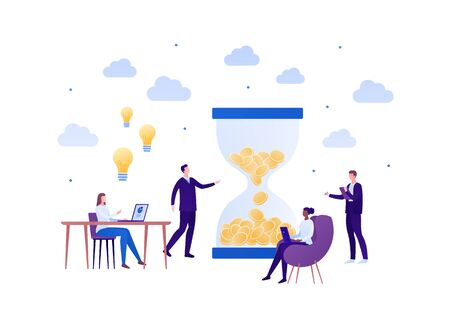 Business teamwork brainstorm concept. Vector flat person illustration. Group of working people with laptop, light bulb idea sign and hourglass of coin. Design element for banner poster, background. Ilustração