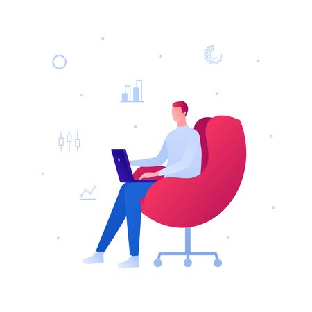 Business freelance work concept. Vector flat person illustration. Male sitting with laptop on chair and diagram chart icon sign. Design element for banner, poster, background.