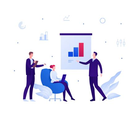 Business teamwork and coworking office concept. Vector flat person illustration. Man in suit make presentation with column on flipchart to employee group. Design element for banner, poster, background Ilustração