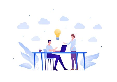 Business teamwork brainstorm concept. Vector flat person illustration. Male and female employee around table with laptop and light bulb idea sign. Design element for banner poster, background. Ilustração