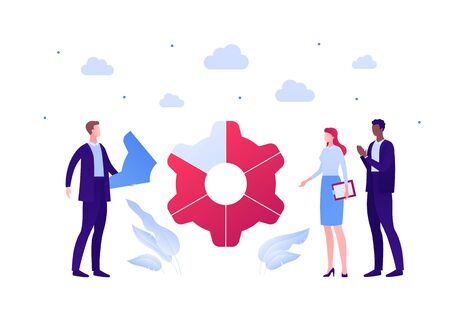 Business teamwork success concept. Vector flat person illustration. Group of male and female employee in suit around gear wheel sign. Design element for banner poster, background.