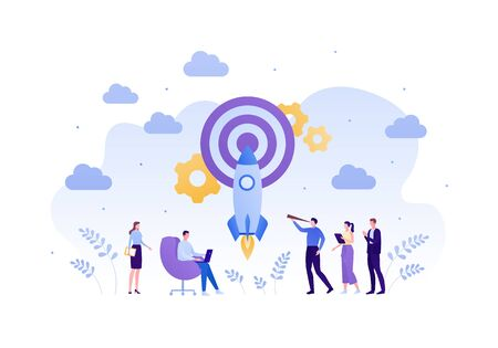 Business startup concept. Vector flat person illustration. Group of male and female employee holding spyglass, laptop, tablet. Rocket hit target. Design element for banner, background