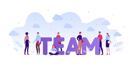 Business teamwork and coworking office concept. Vector flat person illustration. Set of different ethnic employee around team text. Design element for banner, poster, background