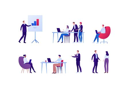 Business teamwork and coworking office concept. Vector flat person illustration. Set of different ethnic employee in various situation. Design element for banner, poster, background