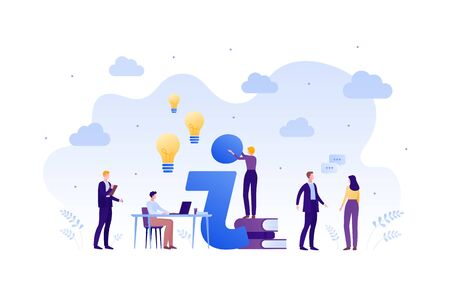 Business faq and education concept. Vector flat person illustration. Group of male and female people with idea light bubble sign, book, table and laptop. Design element for banner, poster, background.