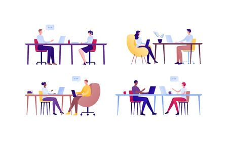 Business teamwork and coworking office concept. Vector flat person illustration. Set of different ethnic employee couple sitting and talking with laptops. Design element for banner, poster, background