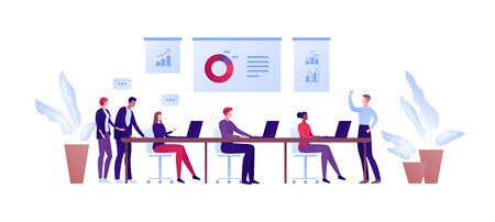 Business teamwork and coworking office concept. Vector flat person illustration. Man in suit make presentationto worker group sitting with laptop. Design element for banner, poster, background Ilustração