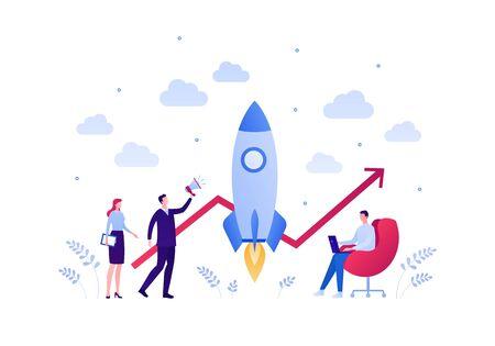 Business startup concept. Vector flat person illustration. Group of male and female businessman holding loudspeaker, laptop, tablet. Rocket and line chart. Design element for banner, background Ilustração