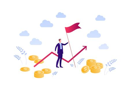 Business finance success and leadership concept. Vector flat person illustration. Businessman in suit holding red flag with money and line chart sign. Design element for banner, poster, background