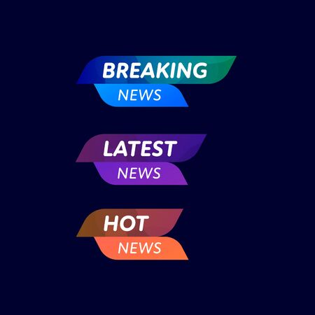 News headline template set. Vector liquid style illustration. Stamps with abstract shape background and copy space isolated on black. Design element for web media, article, tv.